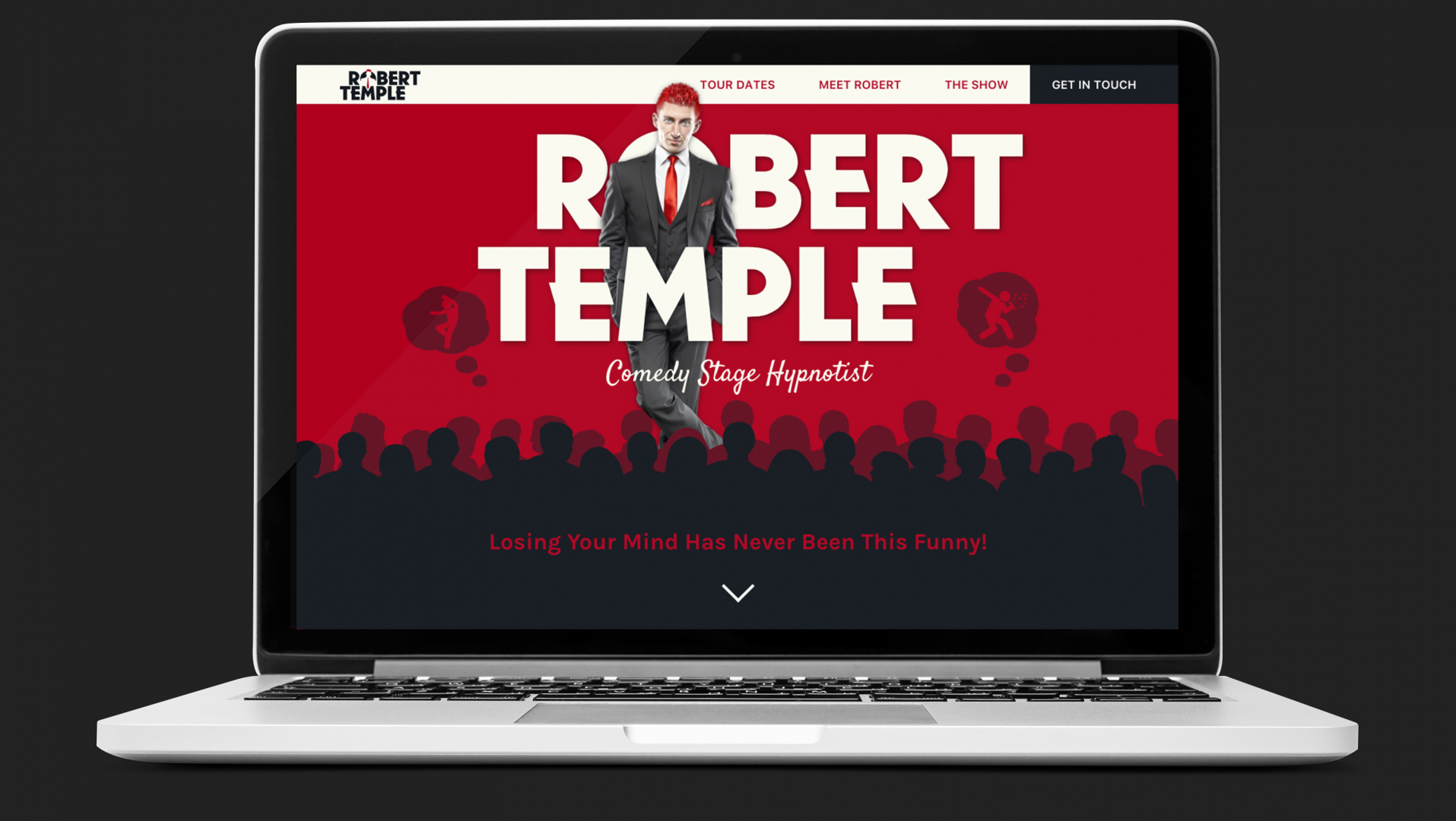 Laptop showing Rob's new site